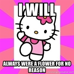 Hello Kitty - I WILL ALWAYS WERE A FLOWER FOR NO REASON