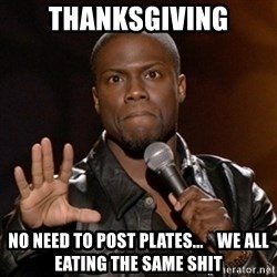 Kevin Hart - THANKSGIVING NO NEED TO POST PLATES...    WE ALL EATING THE SAME SHIT