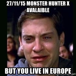 crying peter parker - 27/11/15 Monster hunter x avalaible But you live in europe