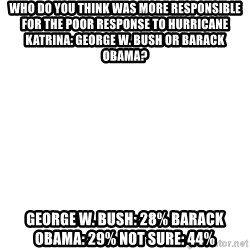 Blank Template - Who do you think was more responsible for the poor response to Hurricane Katrina: George W. Bush or Barack Obama?   George W. Bush: 28% Barack Obama: 29% Not sure: 44%