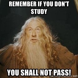 You shall not pass - Remember if you don't study YOU SHALL NOT PASS!