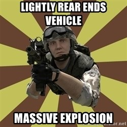 Arma 2 soldier - Lightly Rear ends Vehicle  Massive Explosion