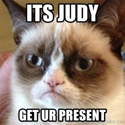 Angry Cat Meme - its judy  get ur present