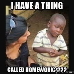 African little boy - I have a thing called homework????