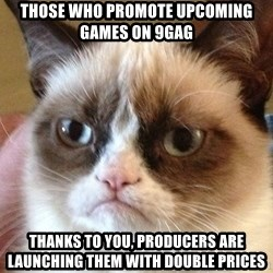 Angry Cat Meme - THOSE WHO PROMOTE UPCOMING GAMES ON 9GAG THANKS TO YOU, PRODUCERS ARE LAUNCHING THEM WITH DOUBLE PRICES