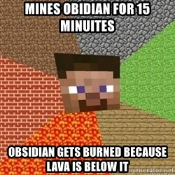 Minecraft Steve - Mines obidian for 15 minuites obsidian gets burned because lava is below it