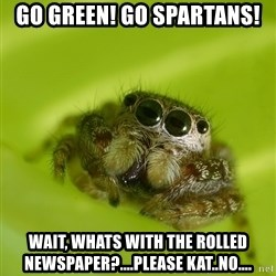 The Spider Bro - Go Green! Go Spartans! wait, Whats with the rolled newspaper?....please kat..no....