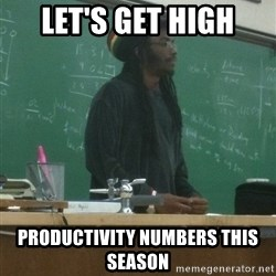 rasta science teacher - let's get high productivity numbers this season
