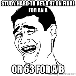 Yaomingpokefarm - Study hard to get a 97 on final for an A or 63 for a B