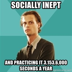 spencer reid - Socially Inept and practicing it 3,153,6,000 seconds a year