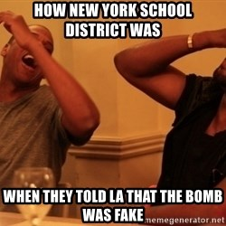 Jay-Z & Kanye Laughing - how new york school district was  when they told la that the bomb was fake