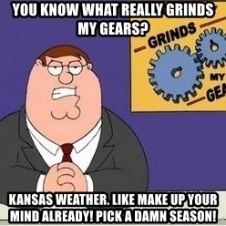 Grinds My Gears Peter Griffin - You know what really grinds my gears? Kansas weather. Like make up your mind already! Pick a damn season!