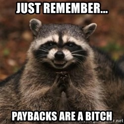 evil raccoon - Just remember... Paybacks are a bitch