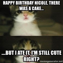 Adorable Kitten - HAPPY BIRTHDAY NICOLE, THERE WAS A CAKE... ....but i ate it, i'm still cute right?