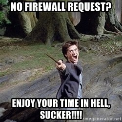 Pissed off Harry - No firewall request? Enjoy your time in hell, Sucker!!!!