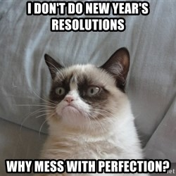 Grumpy cat good - I don't do new year's resolutions why mess with perfection?