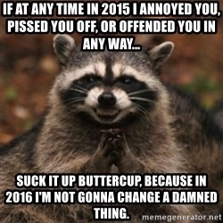 evil raccoon - If at any time in 2015 I annoyed you, pissed you off, or offended you in any way... Suck it up buttercup, because in 2016 I'm not gonna change a damned thing.