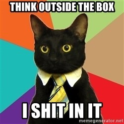Business Cat - think outside the box i shit in it