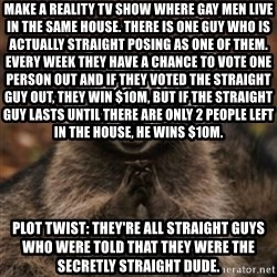 evil raccoon - Make a reality tv show where gay men live in the same house. There is one guy who is actually straight posing as one of them. Every week they have a chance to vote one person out and if they voted the straight guy out, they win $10M, but if the straight guy lasts until there are only 2 people left in the house, he wins $10M. Plot Twist: They're all straight guys who were told that they were the secretly straight dude.