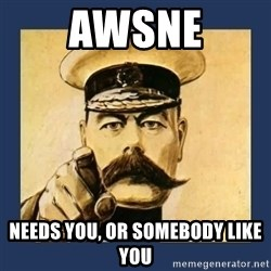 your country needs you - AWSNE Needs you, or somebody like you