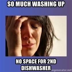 woman crying - so much washing up no space for 2nd dishwasher