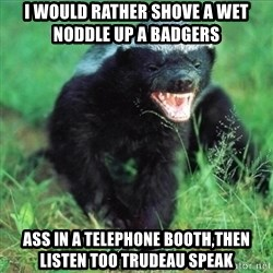 Honey Badger Actual - I would rather shove a wet noddle up a badgers  ass in a telephone booth,then listen too trudeau speak