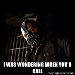 Bane Meme -  I was wondering when you'd call