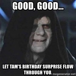 Sith Lord - GOOD, GOOD... LET TAM'S BIRTHDAY SURPRISE FLOW THROUGH YOU.