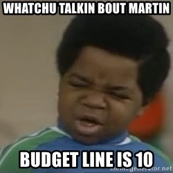 Gary Coleman II - whatchu talkin bout martin budget line is 10