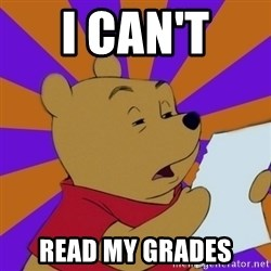 Skeptical Pooh - i can't  read my grades