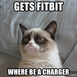 Grumpy cat good - Gets FitBit Where be a charger