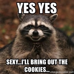 evil raccoon - yes yes sexy...i'll bring out the cookies...