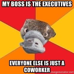 Psychology Student Platypus - MY BOSS IS THE EXECUTIVES EVERYONE ELSE IS JUST A COWORKER