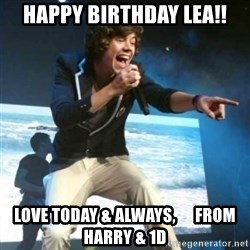 Heartless Harry - Happy Birthday Lea!! Love today & always,      from Harry & 1D