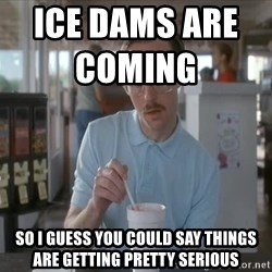 so i guess you could say things are getting pretty serious - ice dams are coming                     so i guess you could say things are getting pretty serious