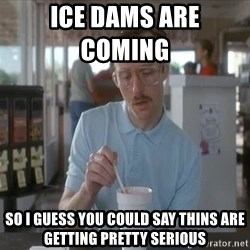 so i guess you could say things are getting pretty serious - ice dams are coming         so i guess you could say thins are getting pretty serious