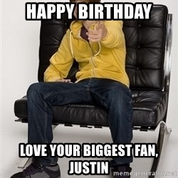 Justin Bieber Pointing - Happy Birthday Love your biggest fan, Justin