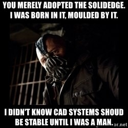 Bane Meme - You merely adopted the SolidEdge. I was born in it, moulded by it. I didn't know CAD systems shoud be stable until I was a man.