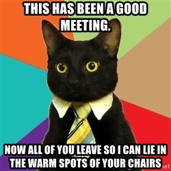 Business Cat - This has been a good meeting. now all of you leave so i can lie in the warm spots of your chairs