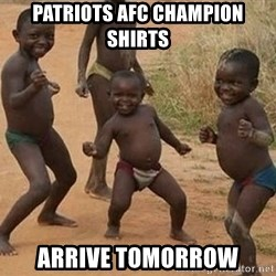 Dancing African Kid - Patriots AFC Champion Shirts Arrive Tomorrow