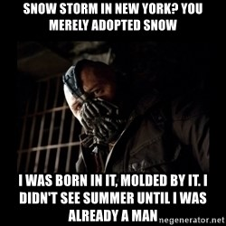 Bane Meme - Snow storm in new york? you merely adopted snow I was born in it, molded by it. I didn't see summer until I was already a man