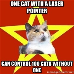 Lenin Cat Red - One cat with a laser pointer Can control 100 cats without one