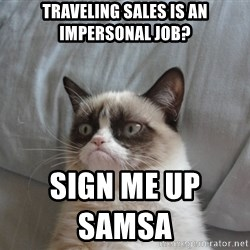 Grumpy cat good - traveling sales is an impersonal job? sign me up samsa