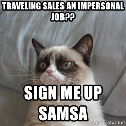 Grumpy cat good - traveling sales an impersonal job?? sign me up samsa