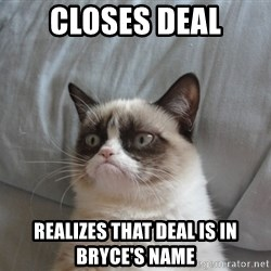 Grumpy cat good - closes deal realizes that deal is in Bryce's name