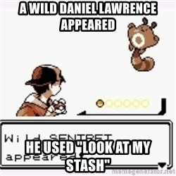 """a wild pokemon appeared - a wild daniel lawrence appeared he used """"look at my stash"""""""