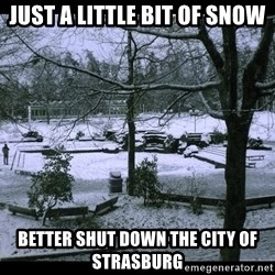 UVIC SNOWDAY - JUST A LITTLE BIT OF SNOW BETTER SHUT DOWN THE CITY OF STRASBURG