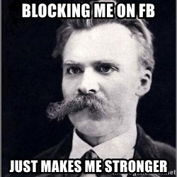 Nietzsche - Blocking me on FB Just makes me stronger