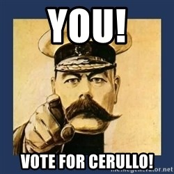 your country needs you - YOU! VOTE FOR CERULLO!