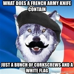 Monsieur Le Courage Wolf - What does a french army knife contain Just a bunch of corkscrews and a white flag